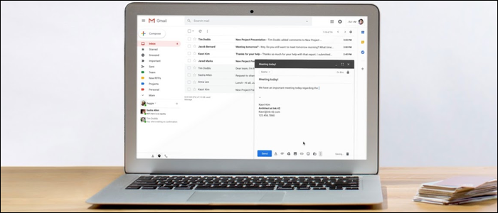 Open laptop opened to Gmail