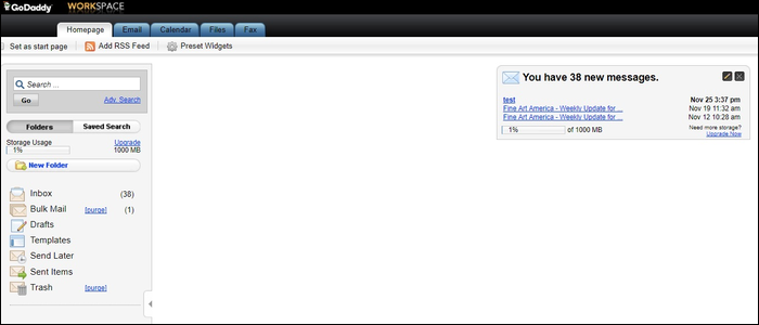 GoDaddy's built-in hosted spaced