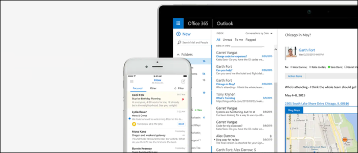 Microsoft Outlook opened on a laptop and phone