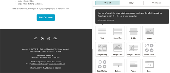 A custom WYSIWYG web editor allows you to create the newsletter content manually.