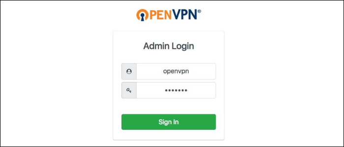 """Simply enter your username and password in """"openvpn"""" and password you set"""