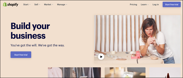 Shopify's landing page.