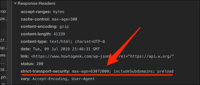Check if the strict-transport-securityheader is included in your site's response headers