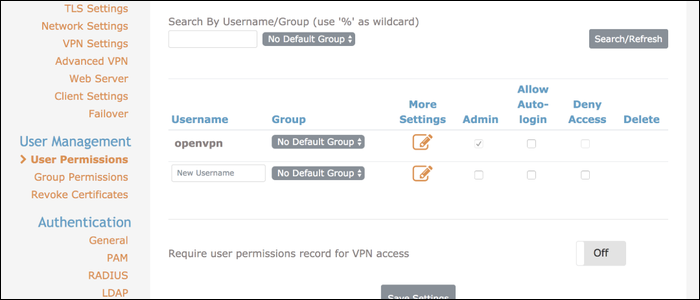 PAM uses local account-based authentication. Create a new user from the User Settings tab