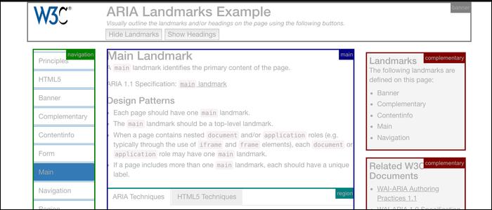 ARIA landmarks categorize your regions of your website.