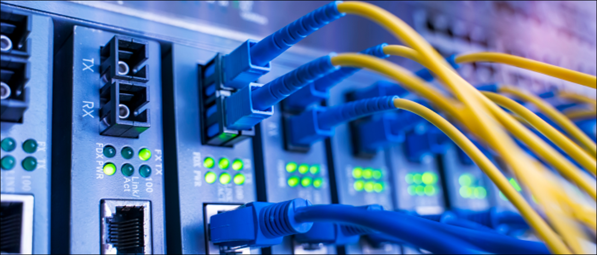 Fiber optic cable connections.