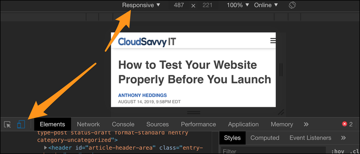 """See how your site scales by right-clicking anywhere, selecting """"Inspect,"""" pressing mobile devices button, then selecting """"Responsive"""" as the device type"""