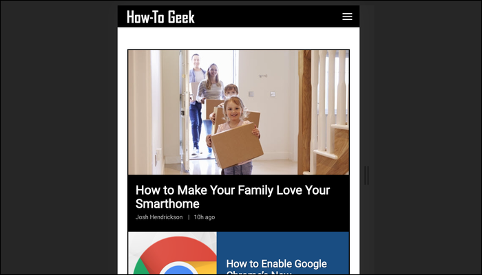 The menu is collapsed into a hamburger menu and the article boxes are laid out in a column on smaller devices