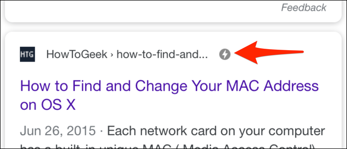 Any page that's AMP-enabled will display with a lightning bolt next to name.