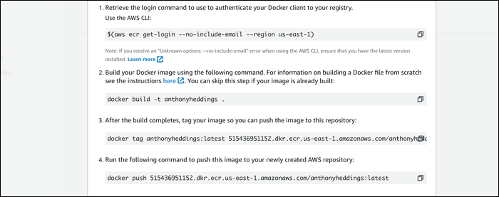 Uploading your image to ECR repository