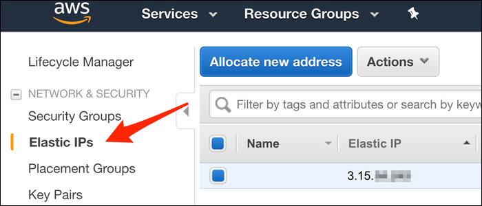 """Find Elastic IPs in the EC2 Management Console, under the """"Elastic IPs"""" tab."""