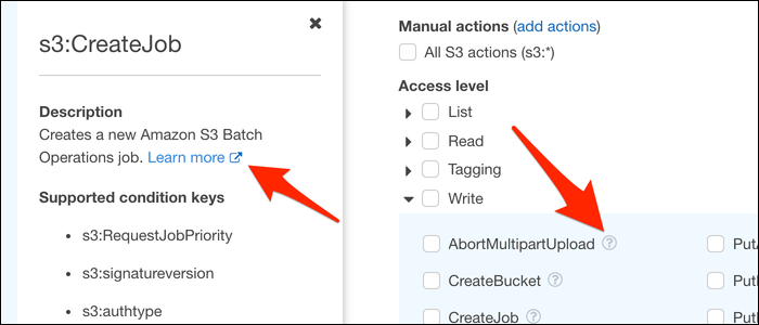 """Click the ?icon or """"Learn more"""" to bring up a sidebar with a quick description of the permission."""