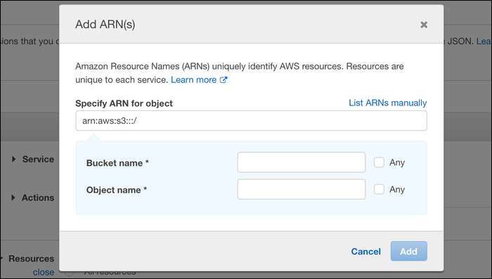 Enter the Amazon Resource Name (ARN) for the object that you want to give access to.