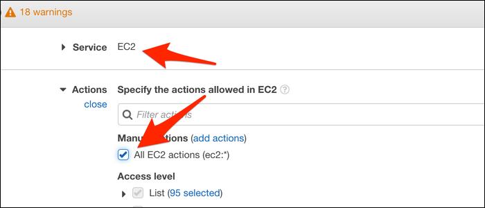 "Select the ASW the service belongs to, then select ""All EC2 actions"" under the Actions tab."
