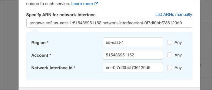"Select the region and general ID, which is viewable under is viewable under the ""Network Interfaces"" tab in the EC2 console."