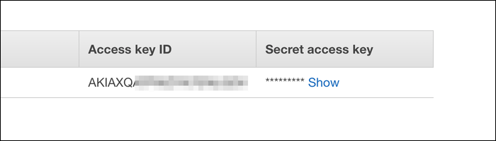 Your access key ID and secret access key.