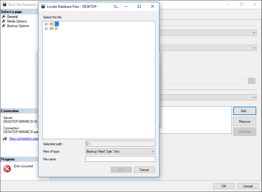 Local drives to select from on the Select Backup Destination menu.