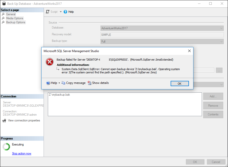 If a backup cannot find the right path to store the backup, a failure message witll be displayed at final export.