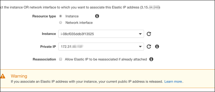 Associate the address with a running instance by selecting instance ID or network interface of the instance you want to assign the address to.