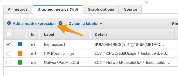 """Select """"Graphed Metrics"""" to add a button to add a composite metric, which is formed from a math expression."""