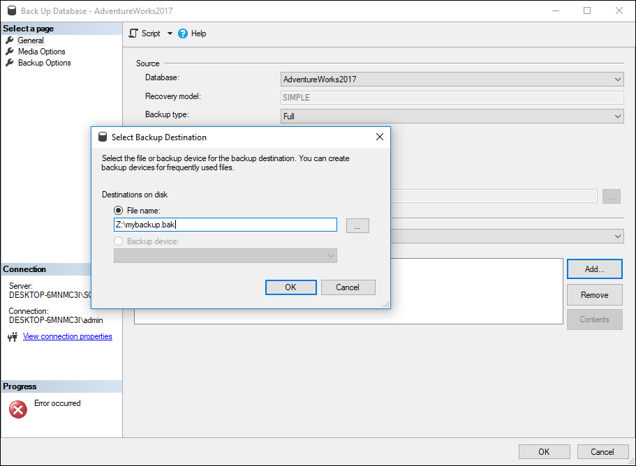 You can directly enter the path to your network share drive on the Select Backup Destination menu.