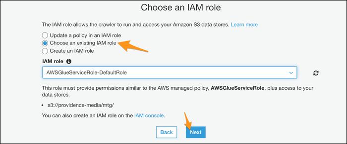 Choose your IAM role.
