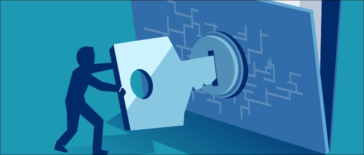 Person unlocking digital file with key.