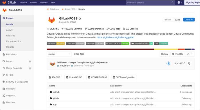GitLab interface