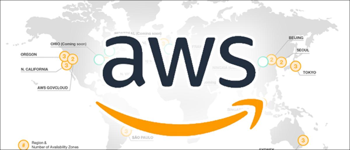 aws logo over world map