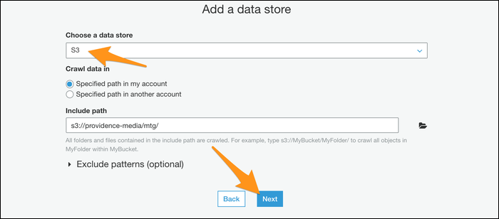 Choosing the data store to import data from into your crawler.
