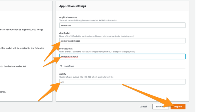 In Applications Settings, enter the name of the destination bucket and the name of source bucket, along with the JPEG quality.