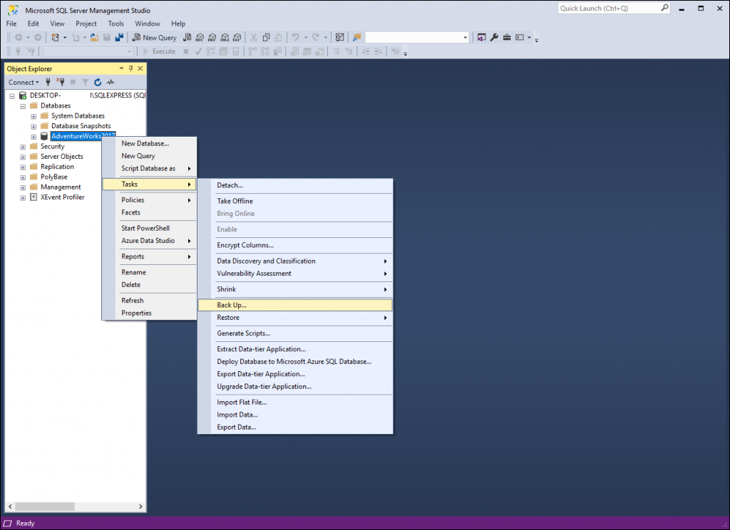 Run a backup for the database by right-clicking the desired databases and navigating to Tasks > Backup.