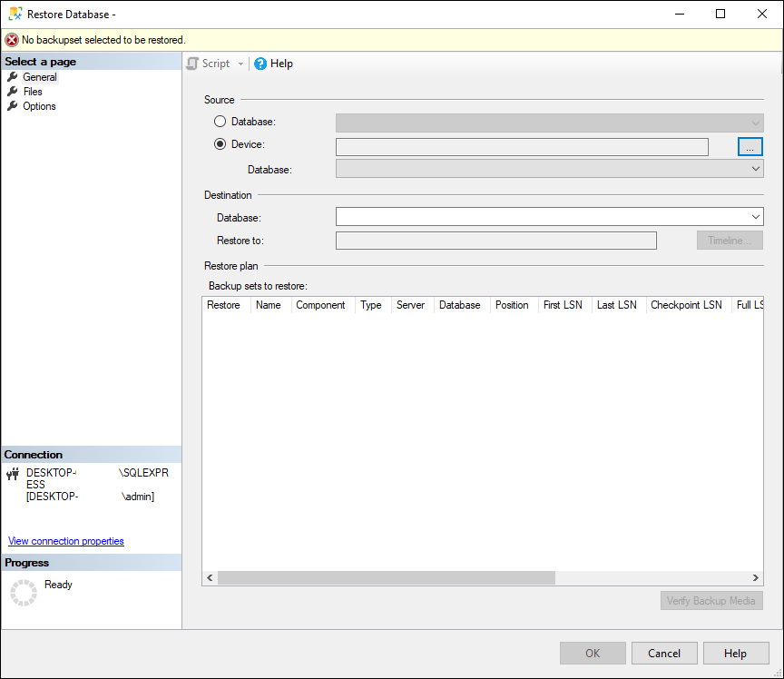 Select the file you want to import from, under the Device setting, along with its location destination and any other necessary advanced options.