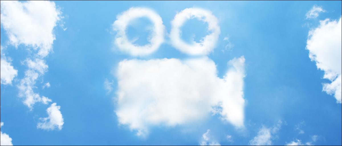 Clouds shaped like old cinema video camera.