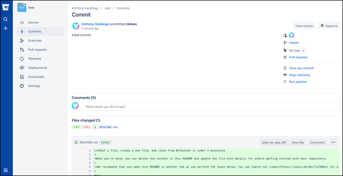 BitBucket's clean interface with a sidebar.