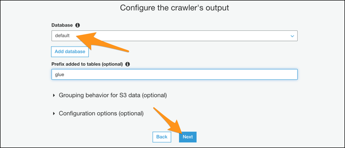 Configuring your crawler's output database.