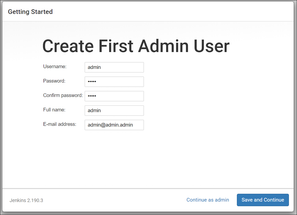 Set up your first Jenkins admin user.
