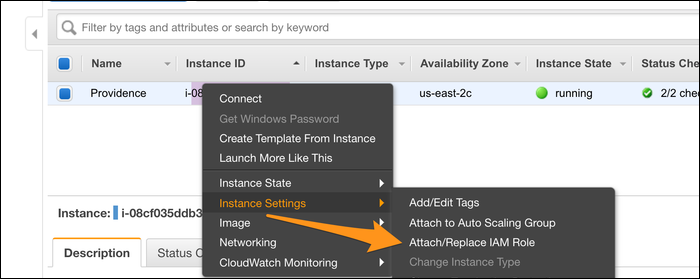 instance settings > attach/replace IAM role