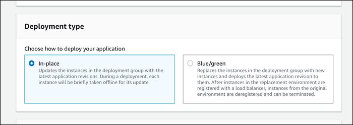 codedeploy type options