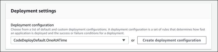 select a deployment configuration