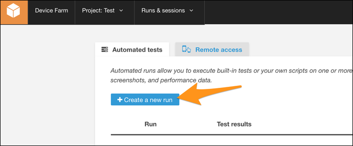 """Creating a new run under the """"Automated Testing"""" tab."""