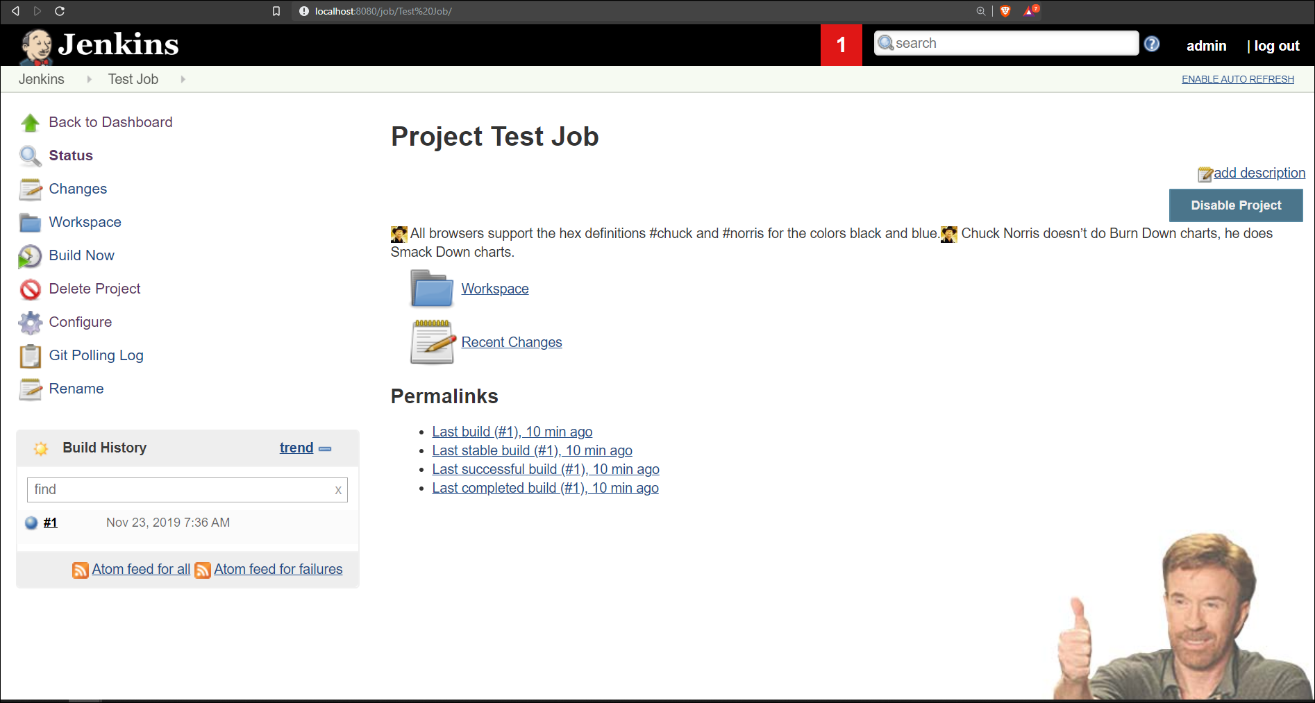 Your home page after testing a new run of your Jenkins job.