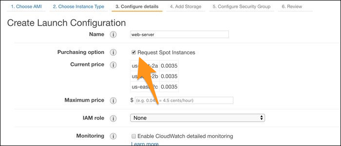 """Create a new Launch Configuration from the Auto Scaling tab, and from the """"Configure Detail"""" tab, check """"Request Spot Instances."""""""