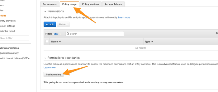 """Manually setting the boundary for a given user under the """"Policy Usage"""" tab."""