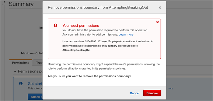 The error received when you don't have permission to edit permission boundaries on roles.