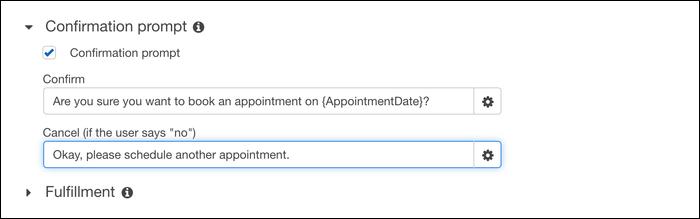 Lex confirmation settings