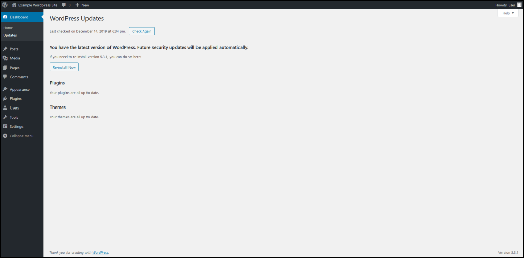 Navigate to the Dashboard and find Home to manage WordPress updates.