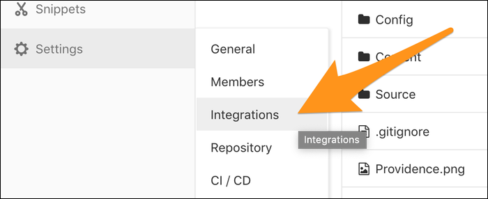 settings > integrations