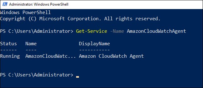 The CloudWatch agent service is now running.