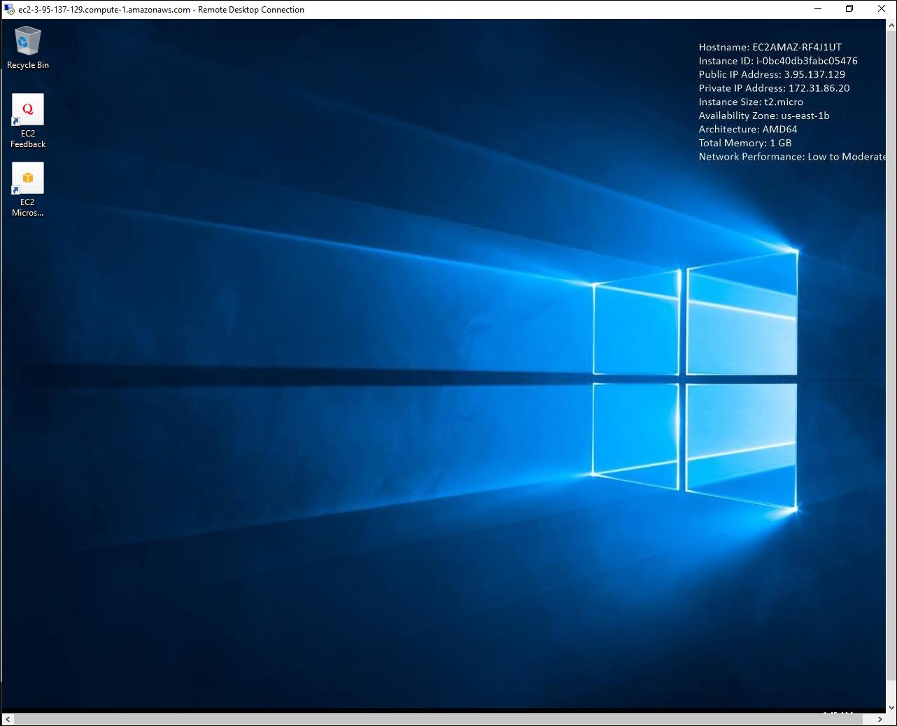 The Windows server desktop.